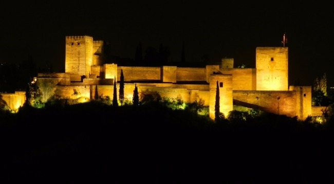 Stunning view of the Alhambra illuminated at night